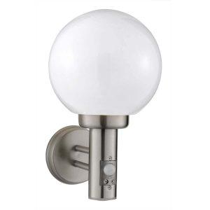 Searchlight ORB 1 LIGHT PIR OUTDOOR WALL BRACKET SATINLESS STEEL WHITE SHADE 085 01