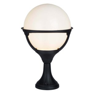 Searchlight ORB OUTDOOR 1 LIGHT POST BLACK ROUND OPAL SHADE 8740 01