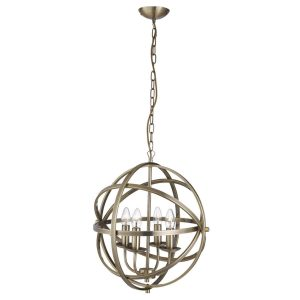 Searchlight ORBIT 4 LIGHT CAGE FRAME ORB PENDANT ANTIQUE BRASS 2474 4AB 01 1