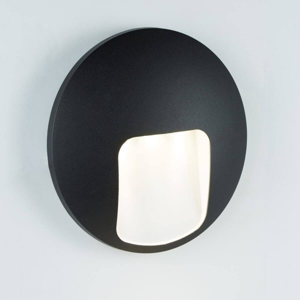Searchlight OUTDOOR 1 LIGHT DISC LED WALL BRACKET BLACK 0543BK 01
