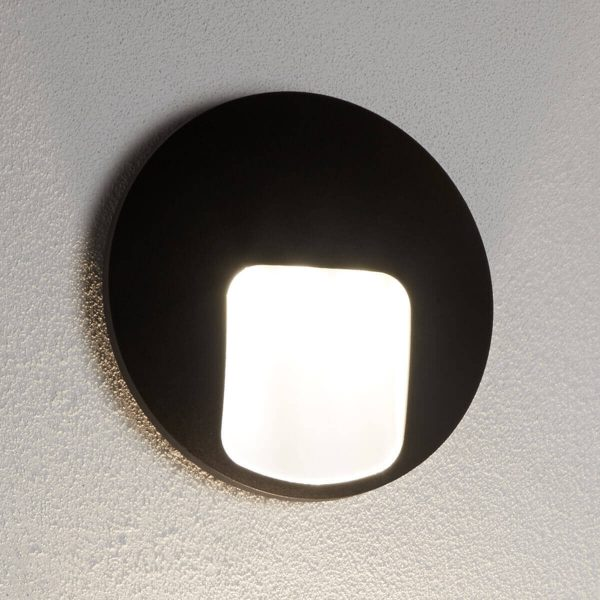 Searchlight OUTDOOR 1 LIGHT DISC LED WALL BRACKET BLACK 0543BK 02