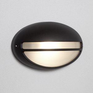 Searchlight OUTDOOR PORCH 60W BLACK OVAL FLUSH 5544BK 01 1
