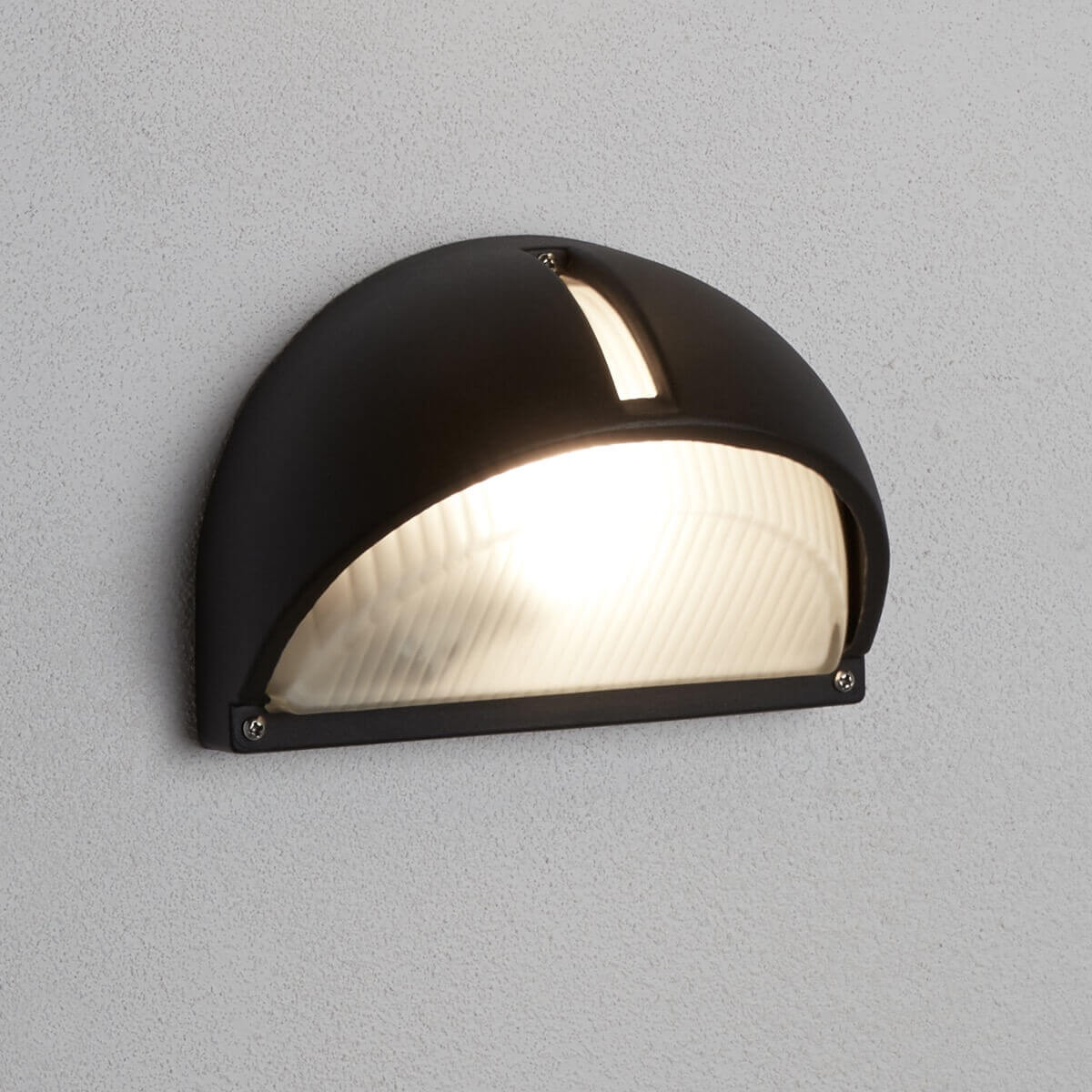 Outdoor Porch Half Moon Wall Bracket Black Frosted Glass Ledlam Lighting