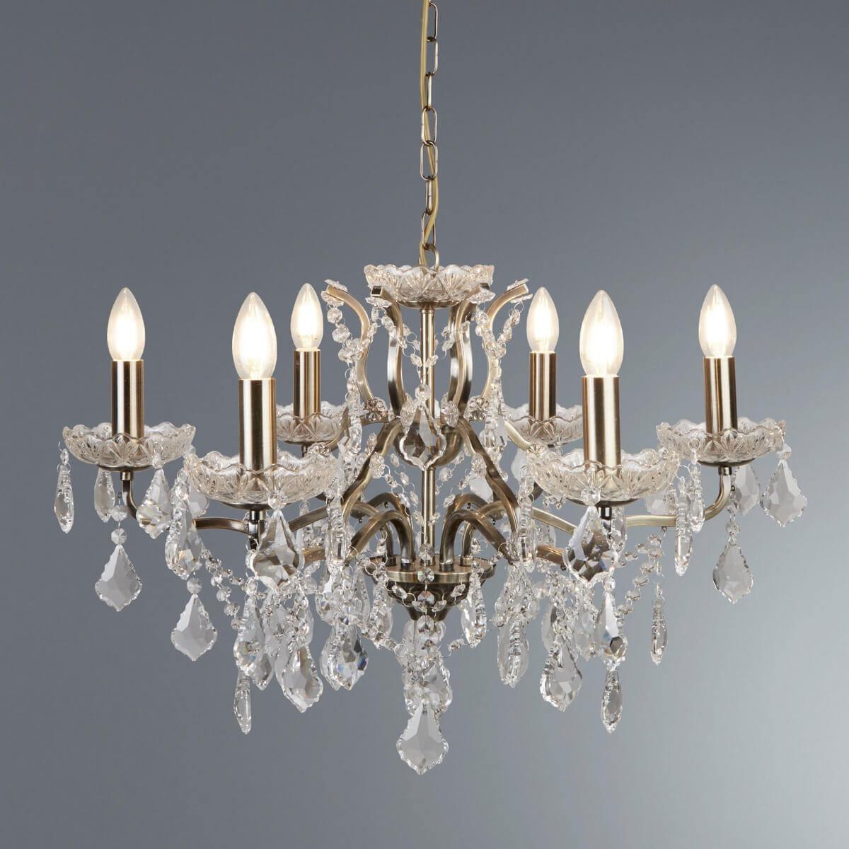 Paris 6 Light Chandelier Clear Crystal Drops Trim Antique Brass Ledlam Lighting