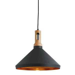 Searchlight PENDANT 1 LIGHT CONE GOLD INNER BLACK OUTER WOOD EFFECT CAP 7051BK 01 1