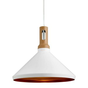 Searchlight PENDANT 1 LIGHT CONE GOLD INNER WHITE OUTER WOOD EFFECT CAP 7051WH 01 1