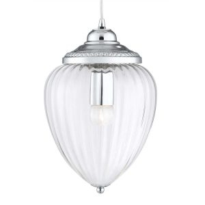 Searchlight PINEAPPLE 1 LIGHT PENDANT CHROME CLEAR RIBBED GLASS 1091CC 01 1