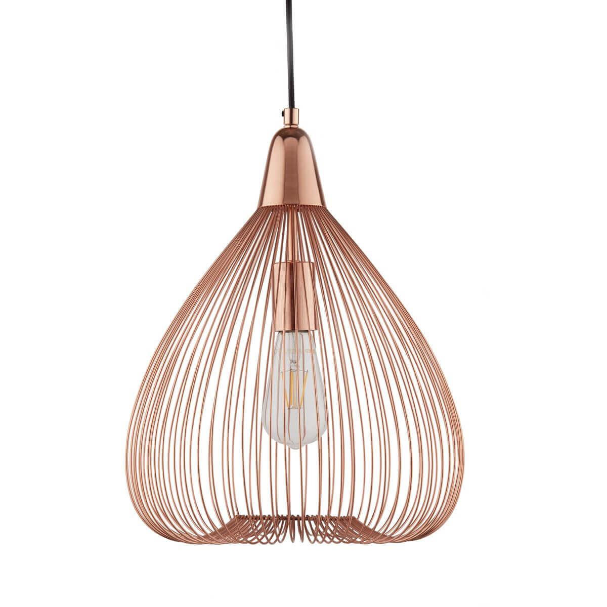 Pumpkin 1 light wire cage pendant copper ledlam lighting