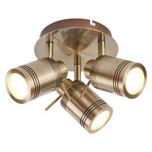 Searchlight SAMSON 3 LIGHT IP44 BATHROOM SPOT PLATE ANTIQUE BRASS 6603AB 01