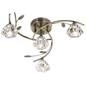 Searchlight SIERRA 4 LIGHT SEMI FLUSH ANTIQUE BRASS CLEAR GLASS 2634 4AB 01 1