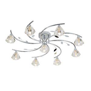 Searchlight SIERRA 9 LIGHT SEMI FLUSH CHROME CLEAR GLASS 2639 9CC 01 1