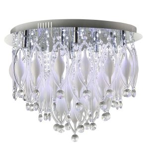 Searchlight SPINDLE REMOTE CONTROLLED 9 LIGHT FLUSH CEILING CHROME WITH CLEAR WHITE GLASS DECO 2459 9CC 01 1