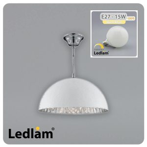 Searchlight Searchlight 8149SI White and Silver Pendant Light Ledlam 15W LED G95 Globe Bulb 31057 01 1