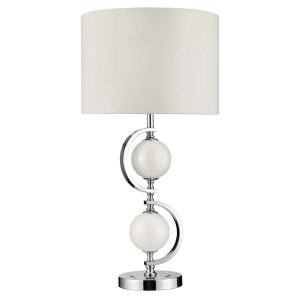 Searchlight TABLE LAMP CHROME WHITE GLASS BALLS DRUM SHADE 1965WH 01