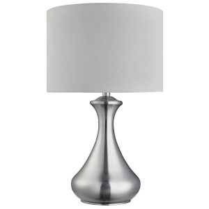 Searchlight TOUCH LAMP SATIN SILVER WHITE SHADE 2750SS 01