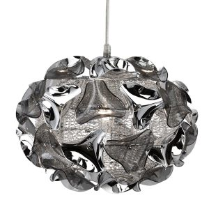 Searchlight TRIANGLE 1 LIGHT SMALL CHROME AND SMOKEY ACRYLIC PENDANT 5801 1SM 01 1