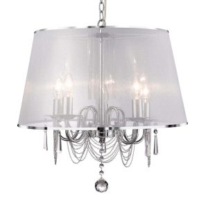 Searchlight VENETIAN 5 LIGHT CEILING CHROME CHAIN LINK CLEAR CRYSTAL GLASS WHITE VIOLE SHADE 1485 5CC 01 1