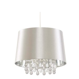 Searchlight VENETION PENDANT SILVER FAUX SILK ACRYLIC BEADS WITH LARGER CUP CL7026SICW 01 1