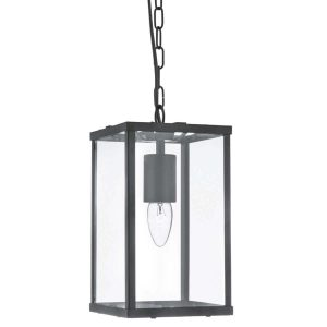 Searchlight VOYAGER 1 LIGHT RECTANGLE BLACK CLEAR GLASS 4241BK 01 1