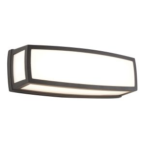 Searchlight WASHINGTON OUTDOOR LARGE LED RECTANGLE DARK GREY OPAL WHITE DIFFUSER WALL BRACKET FLUSH 6386GY 01 1