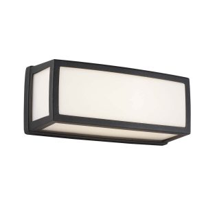 Searchlight WASHINGTON OUTDOOR SMALL LED RECTANGLE DARK GREY OPAL WHITE DIFFUSER WALL BRACKET FLUSH 6397GY 01 1