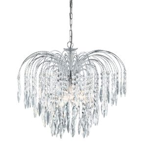 Searchlight WATERFALL 5 LIGHT CEILING CHROME CLEAR CRYSTAL 4175 5 01 1