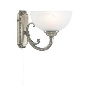 Searchlight WINDSOR 1 LIGHT WALL BRACKET ANTIQUE BRASS ALABASTER GLASS 3771 1AB 01