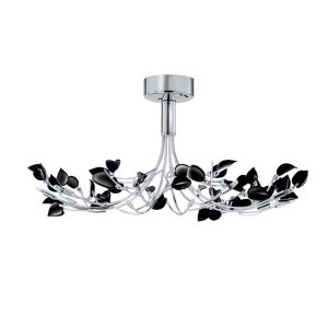 Searchlight WISTERIA 10 LIGHT CHROME FITTING WITH BLACK LEAVES 81510 10BK 01 1