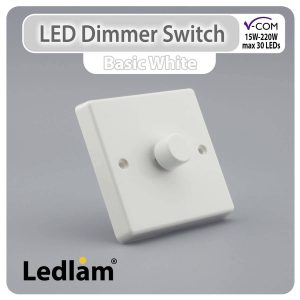 Varilight V Com Dimmer Switch Push on off 1 Gang max 30 LEDs 15W 220W White 31287 01