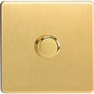 Varilight V Pro Dimmer Switch Push on off 1 Gang Brushed Brass 31231 01