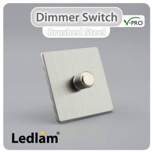 Varilight V Pro Dimmer Switch Push on off 1 Gang Brushed Steel 30159 01