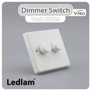 Varilight V Pro Dimmer Switch Push on off 2 Gang White 30131 01