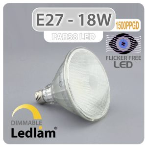 Ledlam E27 PAR38 LED Reflector Bulb 18W 1500PPGD dimmable 01 7