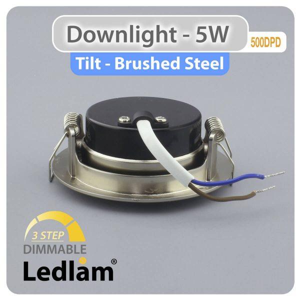 Ledlam Ledlam Downlight LED 5W Tilt 500DPD 3 STEP Dimmable brushed steel 02