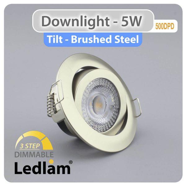 Ledlam Ledlam Downlight LED 5W Tilt 500DPD 3 STEP Dimmable brushed steel Additional