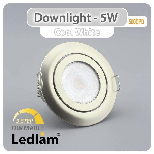 Ledlam Ledlam Downlight LED 5W Tilt 500DPD 3 STEP Dimmable brushed steel Cool White