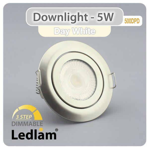 Ledlam Ledlam Downlight LED 5W Tilt 500DPD 3 STEP Dimmable brushed steel Day White