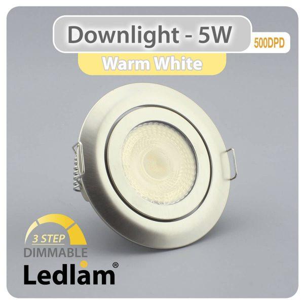 Ledlam Ledlam Downlight LED 5W Tilt 500DPD 3 STEP Dimmable brushed steel Warm White