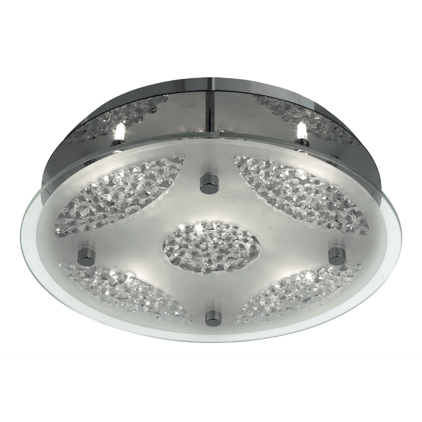 Chrome 5 Light Round Flush Fitting Glass And Crystal
