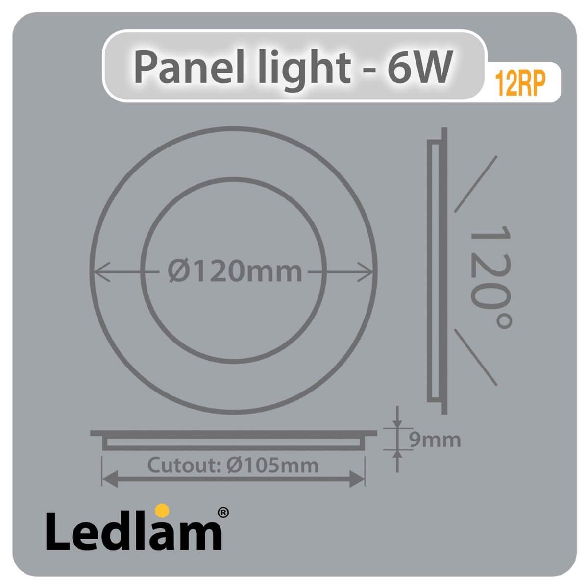 LED Panel Light 6W Round 12RPD - dimmable - Ledlam Lighting