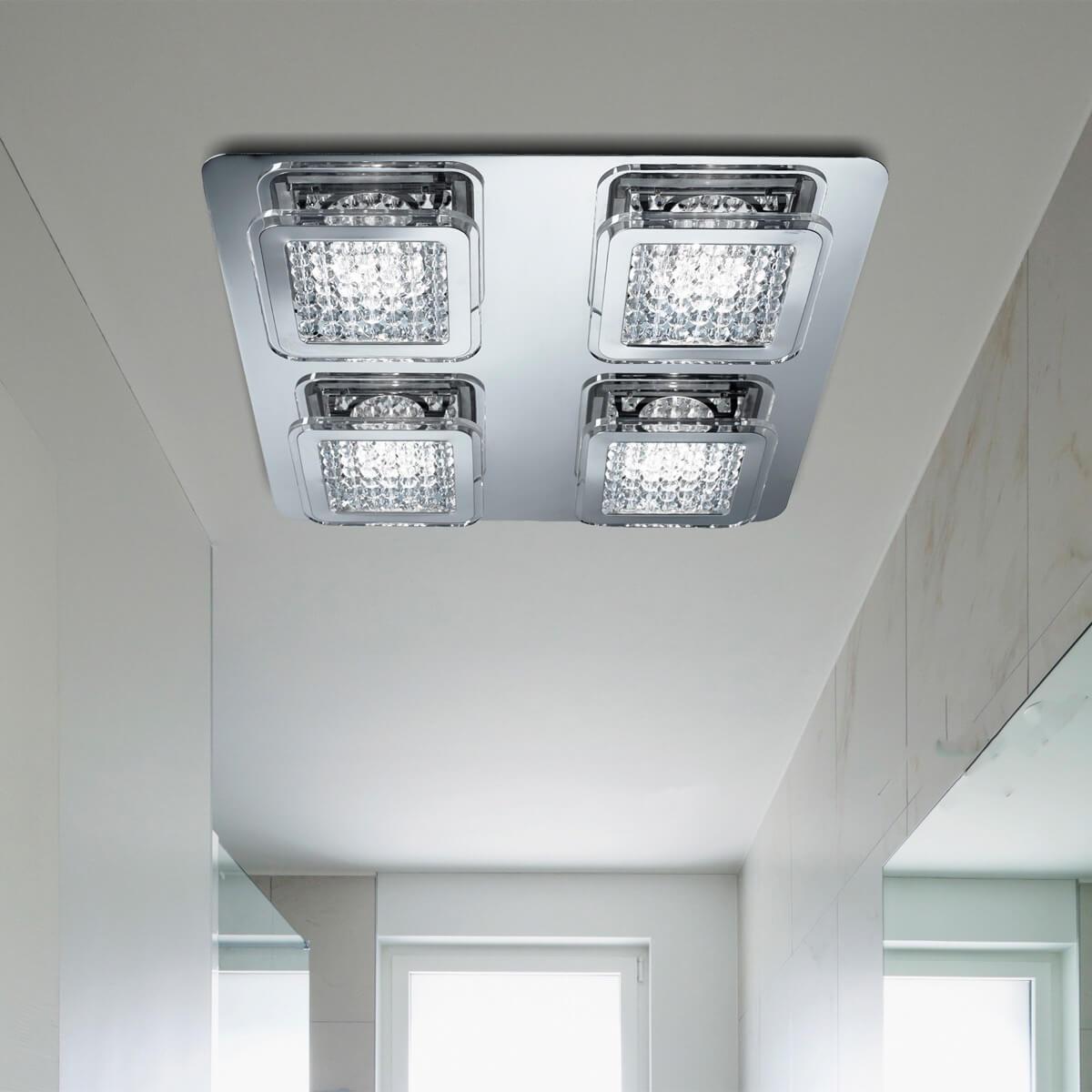 Vesta 4 Light Led Ceiling Flush Chrome Clear Glass