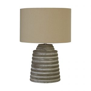 Searchlight-LIANA-GREY-RIDGED-CEMENT-TABLE-LAMP-WITH-GREY-SHADE-9621GY-01