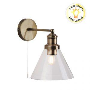 Searchlight-PYRAMID-WALL-LIGHT-AB-CLEAR-GLASS-SHADE-1277AB-01