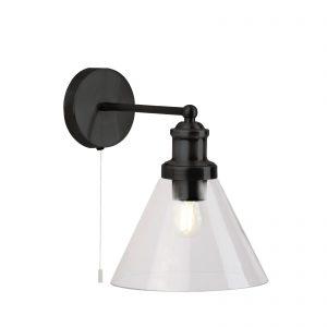Searchlight-PYRAMID-WALL-LIGHT-MATT-BLACK-CLEAR-GLASS-SHADE-1277BK-01
