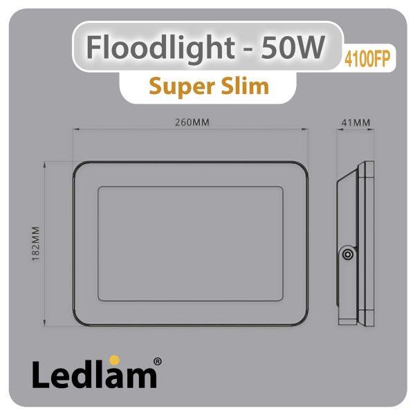 Ledlam-LED-Floodlight-50W-4100FP-slim-Dimensions