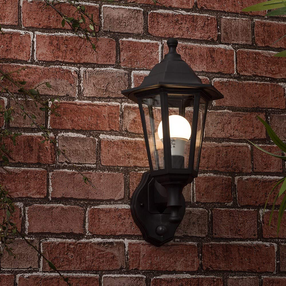 Traditional Style Black Outdoor Security Dusk To Dawn Ip44 Rated Wall Light Lantern Ledlam Lighting