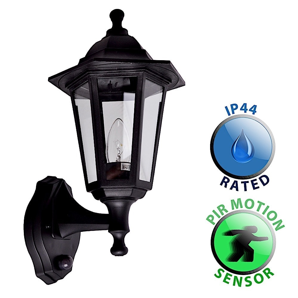 Traditional Style Black Outdoor Security PIR Motion Sensor ...