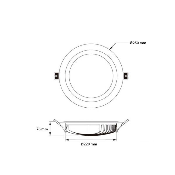 Ledlam-Black-25W-SAMSUNG-LED-Downlight-120lm-W-LIFUD-DL-SMNG-25NG-Dimensions