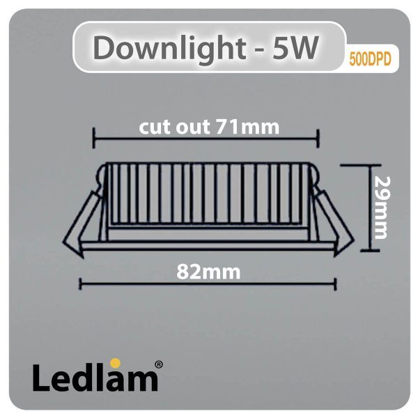 Ledlam-Downlight-LED-5W-Tilt-500DPD-3-STEP-Dimmable-white-Dimensions