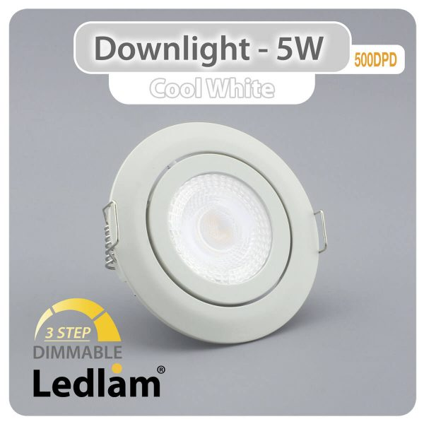 Ledlam-Downlight-LED-5W-Tilt-500DPD-3-STEP-Dimmable-white-Variant-Cool-White-